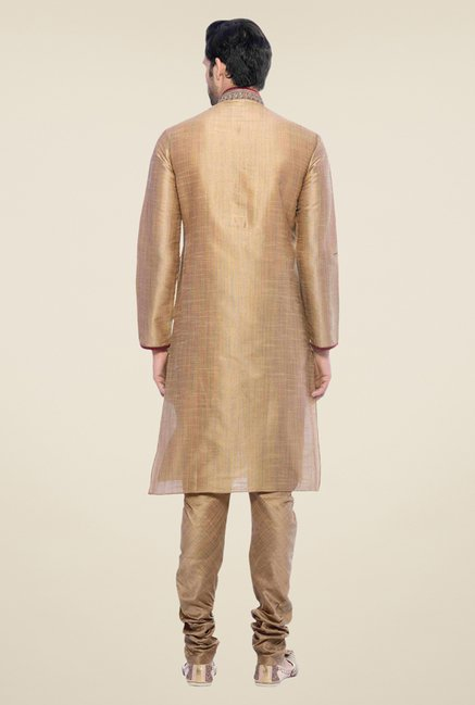 Manyavar Gold Textured Kurta & Churidar