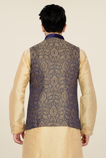 Manyavar Trendy Blue and Beige Jacquard Nehru Jacket