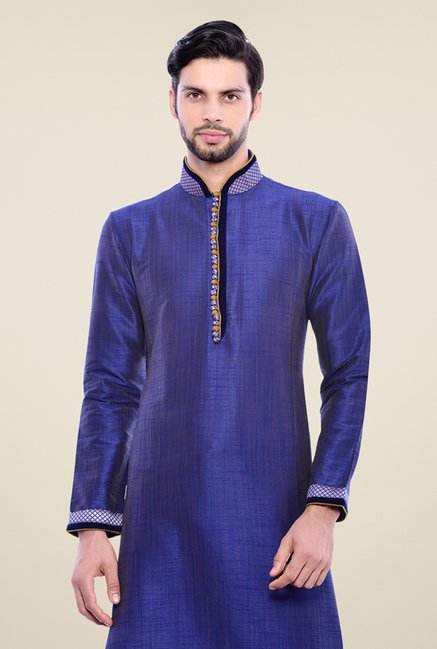 Manyavar Trendy Blue Textured Kurta & Churidar