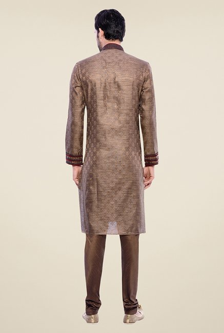 Manyavar Exquisite Brown Brocade Kurta & Churidar