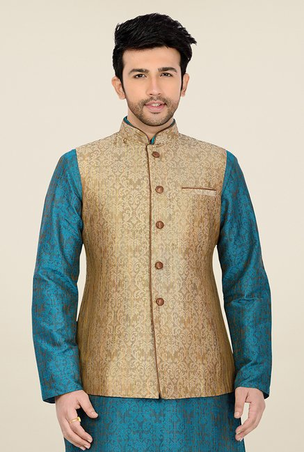 Manyavar Classic Beige and Brown Brocade Nehru Jacket