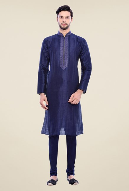 Manyavar Trendy Navy Embroidered Kurta & Churidar