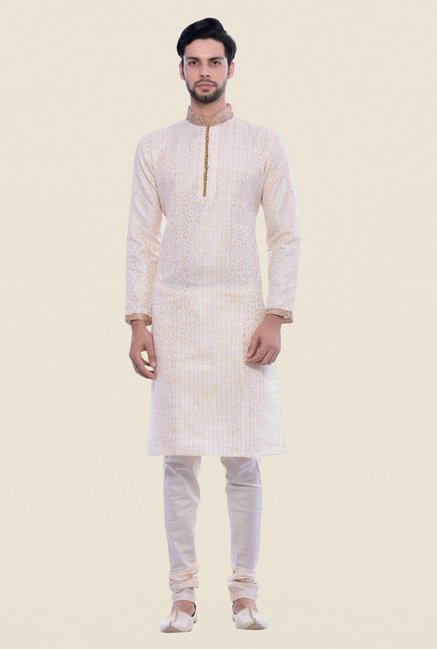 Manyavar Royal Brocade Cream Kurta & Churidar