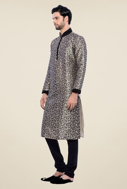 Manyavar Trendy Black & Beige Self Design Kurta & Churidar