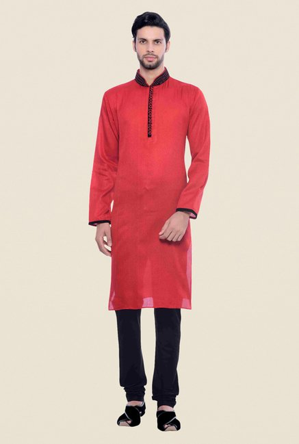 Manyavar Trendy Red & Black Self Design Kurta & Churidar