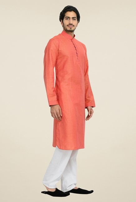Manyavar Orange & White Linen Kurta & Pyjama