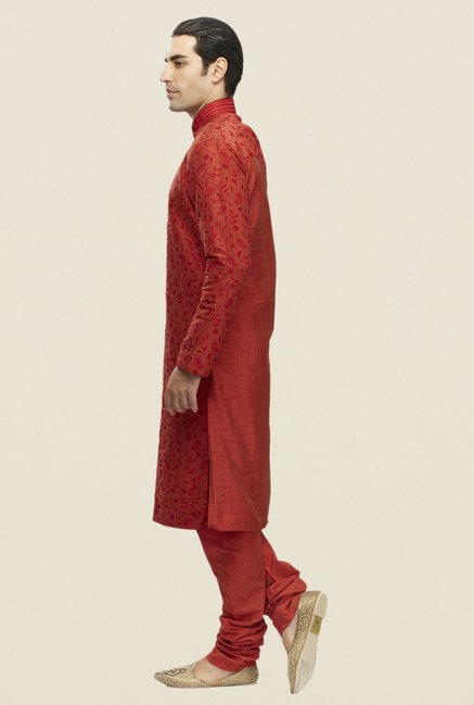 Manyavar Red Embroidered Kurta & Churidar