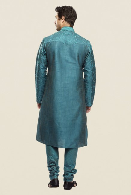 Manyavar Green Embroidered Kurta & Churidar