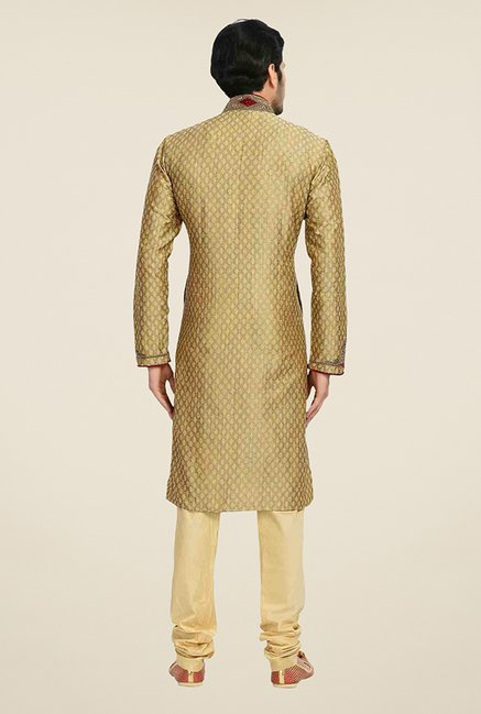 Manyavar Exquisite Brown & Beige Brocade Kurta & Churidar