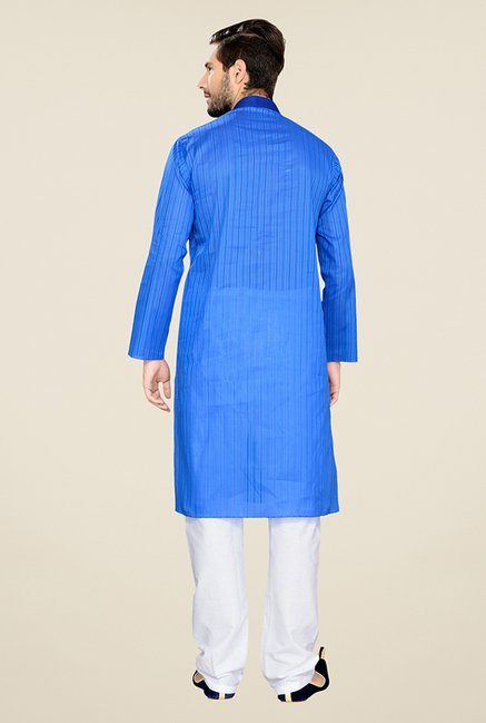 Manyavar Casual Blue Cotton Kurta & Pyjama