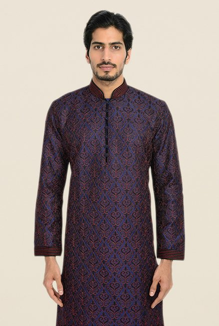 Manyavar Blue Self Design Kurta & Churidar
