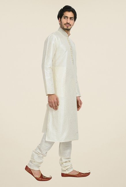 Manyavar Classic Off White Self Design Kurta & Churidar