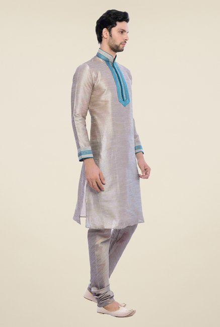 Manyavar Trendy Grey Textured Kurta & Churidar
