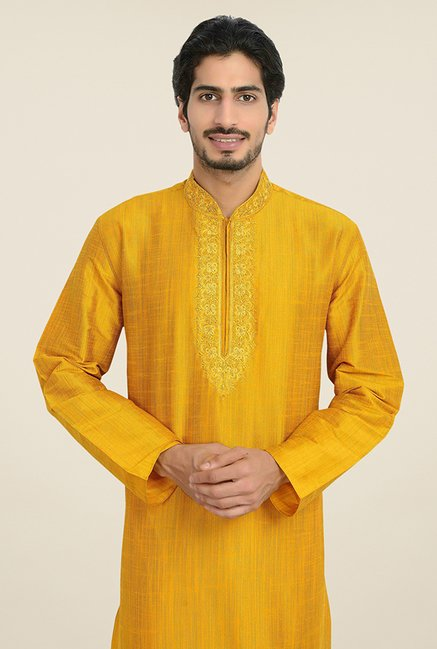 Manyavar Simple Gold & White Self Design Kurta & Churidar