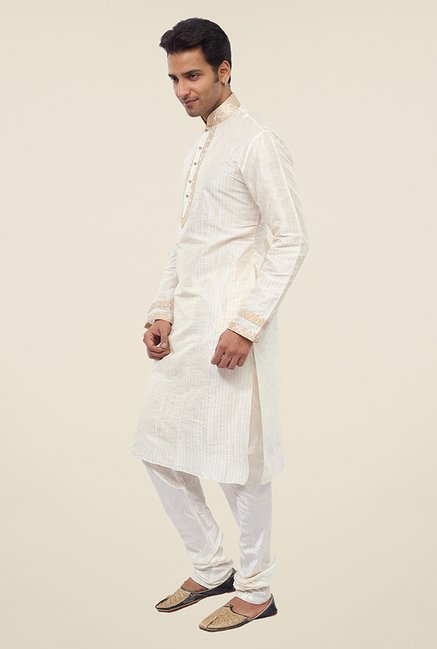 Manyavar Exquisite Off White Striped Kurta & Churidar