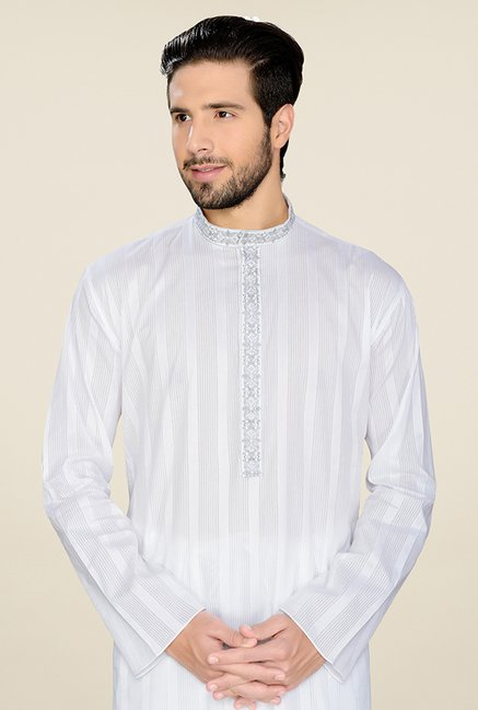 Manyavar White Striped Kurta & Pyjama