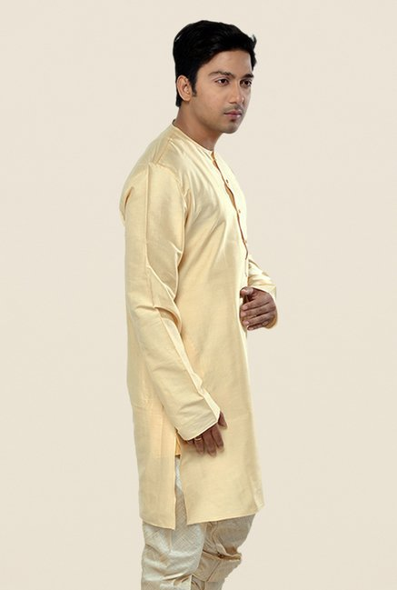 Manyavar Simple Light Beige Solid Kurta