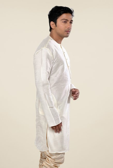 Manyavar Simple Off White Round Neck Solid Kurta
