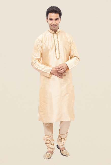Manyavar Simple Beige Textured Kurta & Churidar