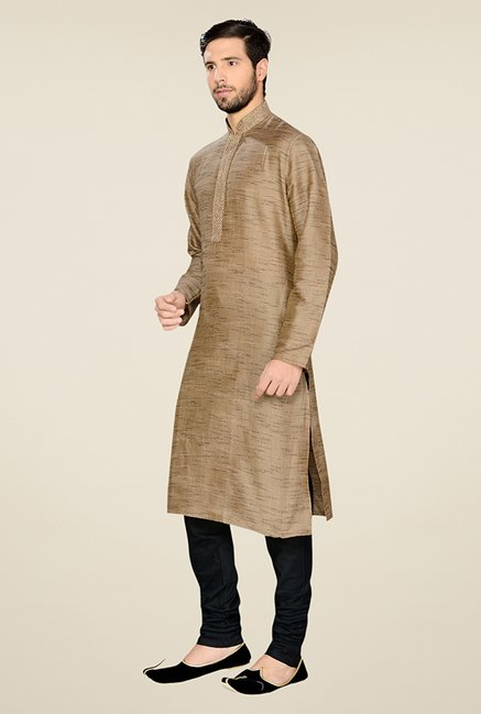 Manyavar Trendy Brown & Black Textured Kurta & Churidar