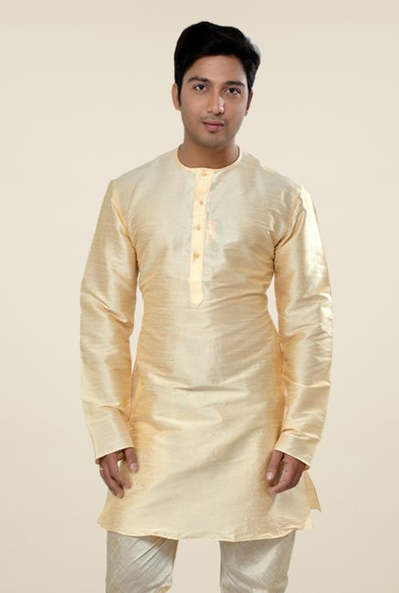 Manyavar Simple Beige Solid Kurta