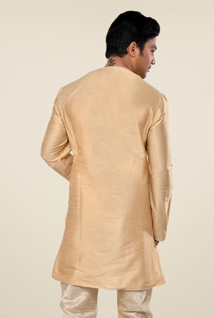 Manyavar Simple Deep Beige Solid Kurta