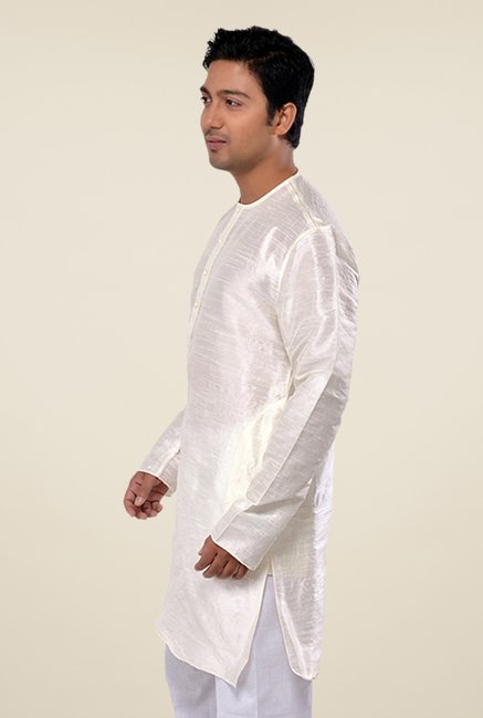 Manyavar Simple Off White Solid Kurta