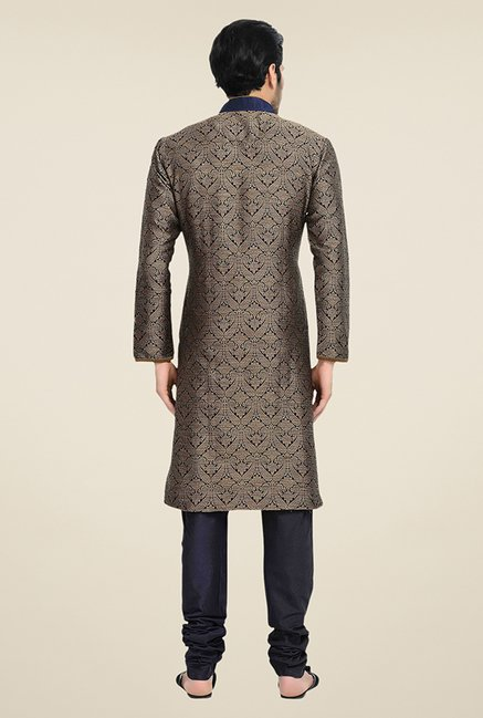 Manyavar Brown Brocade Kurta & Churidar
