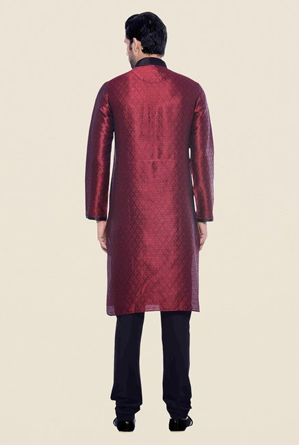 Manyavar Maroon & Black Self Design Kurta & Churidar