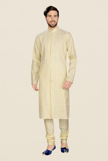 Manyavar Cream Self Design Kurta & Churidar