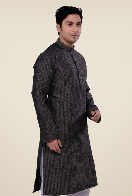 Manyavar Striped Casual Black Kurta