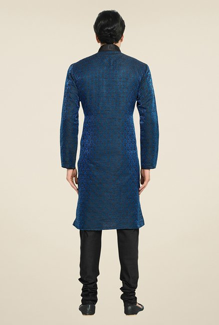 Manyavar Blue & Black Brocade Kurta & Churidar