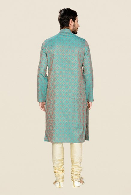 Manyavar Self Design Blue & Beige Kurta & Churidar