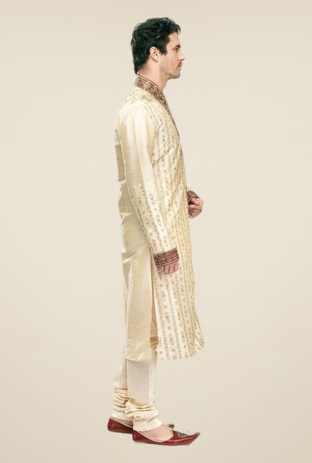 Manyavar Beige Embroidered Kurta & Churidar