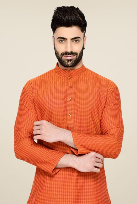 Manyavar Trendy Orange Checks Kurta