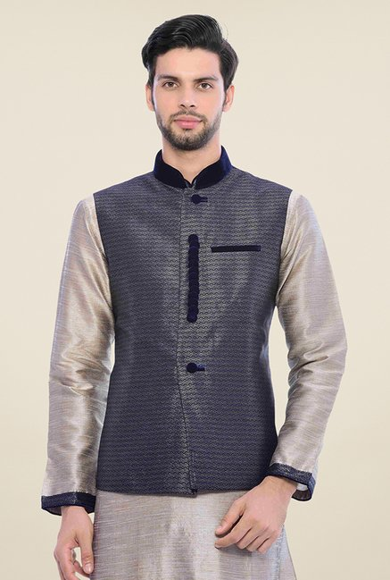 Manyavar Blue & Grey Kurta, Pyjama & Jacket