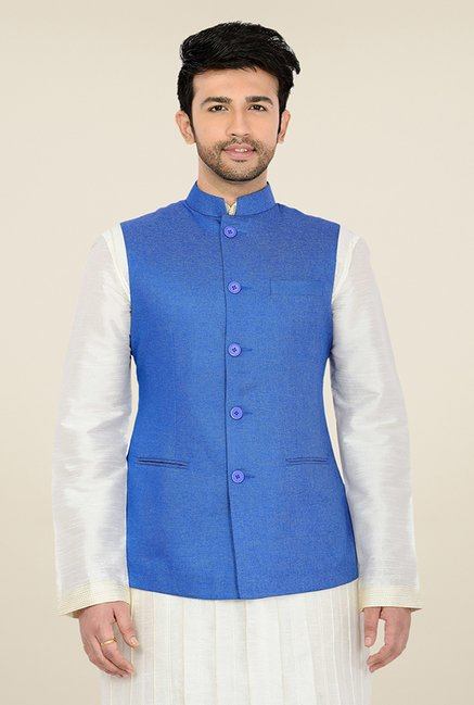 Manyavar Blue Textured Nehru Jacket
