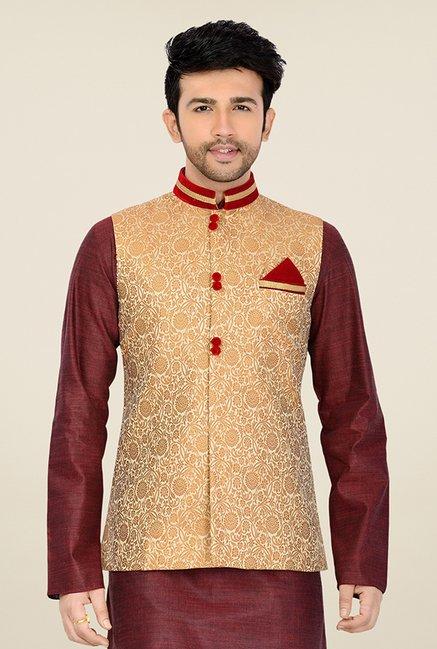 0168bf9ea Buy Manyavar Beige Brocade Design Nehru Jacket For Men Online At ...