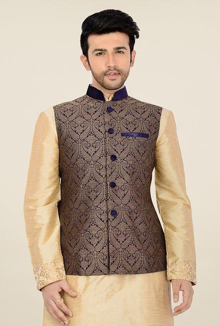 ea6e0772e Buy Manyavar Blue Jacquard Design Nehru Jacket For Men Online At ...