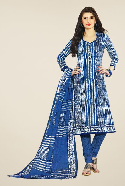 Salwar Studio Blue & White Printed Dress Material
