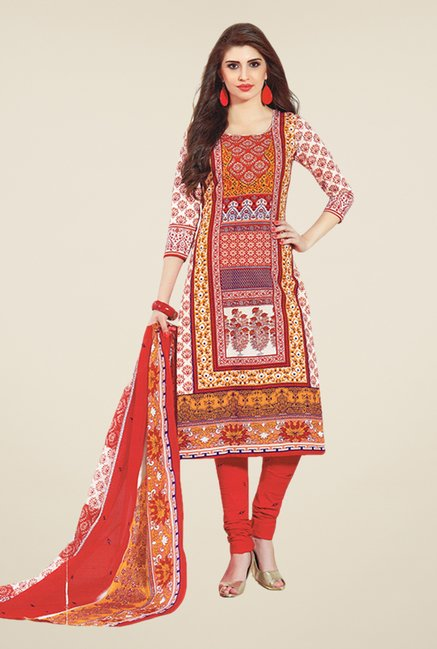 Salwar Studio Red & White Printed Dress Material