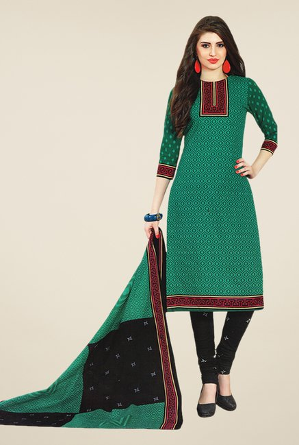 Salwar Studio Green & Black Printed Dress Material
