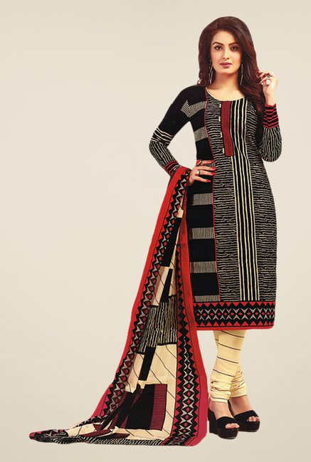 Salwar Studio Black & Beige Printed Dress Material