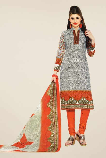 Salwar Studio Grey & Orange Printed Dress Material