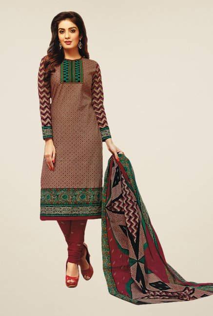 Salwar Studio Wine & Green Printed Dress Material