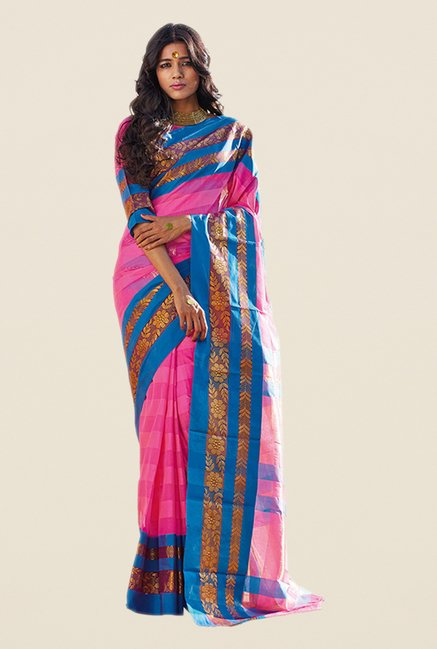 Salwar Studio Pink & Blue Striped Saree