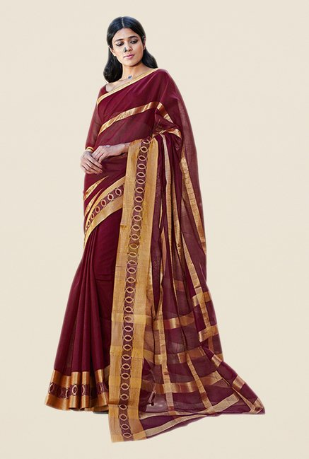 Salwar Studio Wine & Gold Printed Saree
