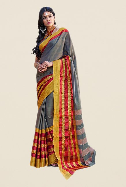 Salwar Studio Grey & Red Printed Saree