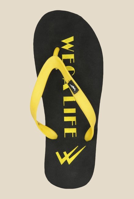 Wega Life Joy Yellow & Black Flip Flops