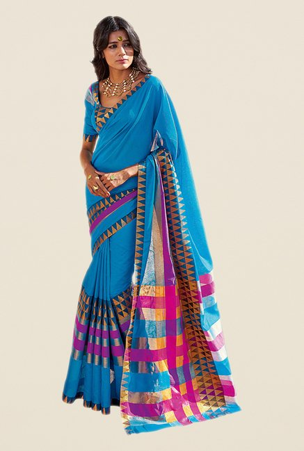 Salwar Studio Blue & Pink Printed Saree